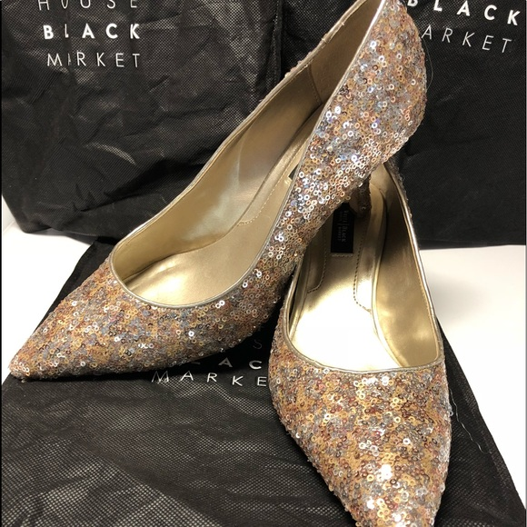 Whbm Gold And Rose Gold Sequin Shoes